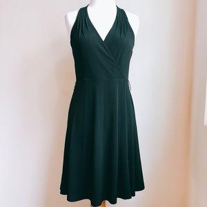 Calvin Klein Surplice Pintuck Little Black Dress